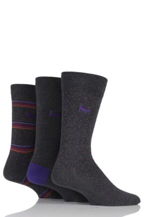 Mens 3 Pair Pringle Gift Boxed Micro Dot and Stripe Cotton Socks