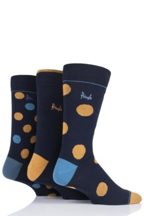 Mens 3 Pair Pringle Gift Boxed Dots Cotton Socks