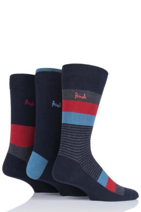 Mens 3 Pair Pringle Gift Boxed Stripe Cotton Socks