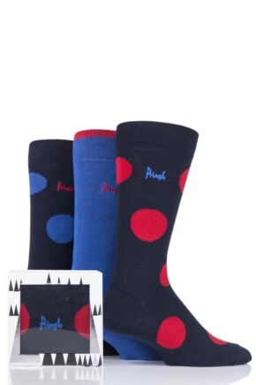 Mens 3 Pair Pringle Large Dots and Plain Gift Boxed Cotton Socks