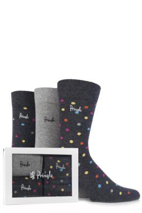 Mens 3 Pair Pringle Gift Boxed Plain and Spotty Cotton Socks