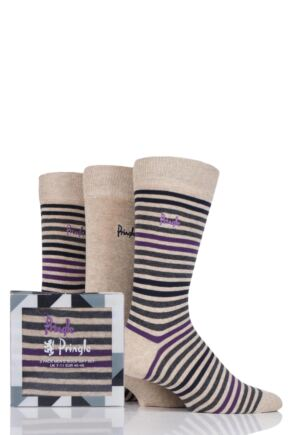 Mens 3 Pair Pringle Kirkwall Stripe and Plain Cotton Socks In Gift Box