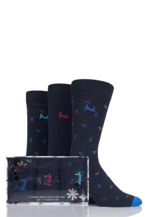 Mens 3 Pair Pringle Kenmore Mini-Paisley and Plain Cotton Socks In Gift Box