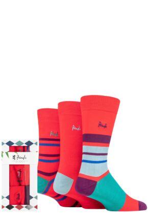 Mens 3 Pair Pringle Bamboo Patterned Gift Boxed Socks Red Stripe 7-11