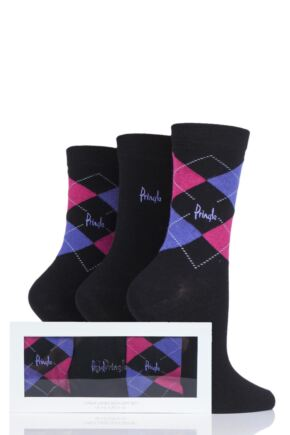 Ladies 3 Pair Pringle Gift Boxed Louise Plain and Argyle Cotton Socks