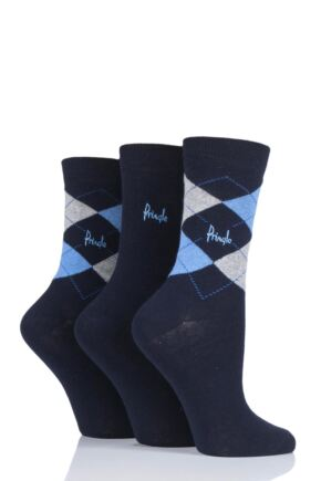 Ladies 3 Pair Pringle Gift Boxed Argyle Cotton Socks