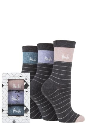 Ladies 3 Pair Pringle Tiffany Gift Boxed Cotton Socks Charcoal Stripe 4-8 Ladies