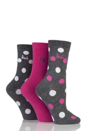 Ladies 3 Pair Pringle Peggy Large Spot and Plain Seasonal Cotton Socks In Gift Box Charcoal 4-8 Ladies