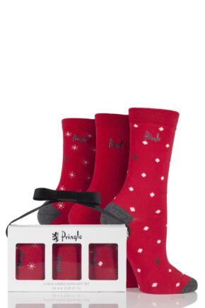 Ladies 3 Pair Pringle Pat Snowflake and Spot Seasonal Cotton Socks In Gift Box Red 4-8 Ladies