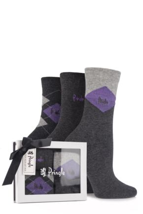 Ladies 3 Pair Pringle Gift Boxed Fern Lurex Diamond Argyle Cotton Socks Grey
