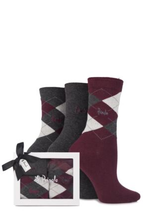 Ladies 3 Pair Pringle Gift Boxed Louise Argyle Cotton Socks Charcoal 4-8