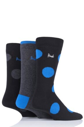 Mens 3 Pair Pringle Large Dots and Plain Gift Labelled Cotton Socks