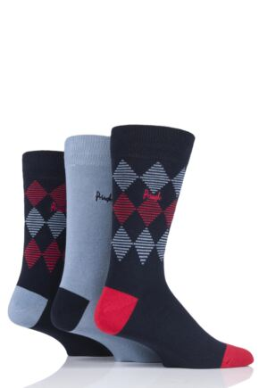 Mens 3 Pair Pringle Argyle and Plain Gift Labelled Cotton Socks