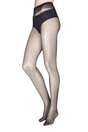 Ladies 1 Pair Trasparenze Geranium Sparkle Dot Tights