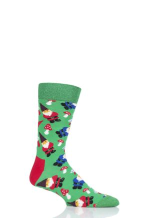 Mens and Ladies 1 Pair Happy Socks Gnome Combed Cotton Socks Green 7.5-11.5 Unisex