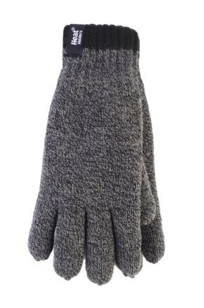 Mens 1 Pack Heat Holders Contrast Thermal Gloves Charcoal Large / Extra Large