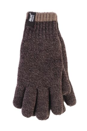Mens 1 Pack Heat Holders Contrast Thermal Gloves Brown Large / Extra Large