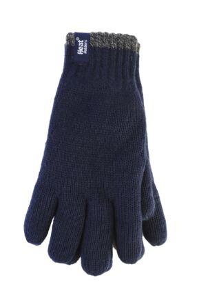 Mens 1 Pack Heat Holders Contrast Thermal Gloves