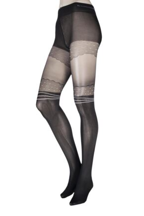 Ladies 1 Pair Trasparenze Ginestra Mock Hold Up Tights with Panty