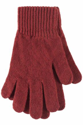 Ladies 1 Pair Great & British Knitwear Made In Scotland 100% Cashmere Plain Gloves In Orange Brandy One Size
