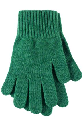 Ladies 1 Pair Great & British Knitwear Made In Scotland 100% Cashmere Plain Gloves In Green Jade One Size