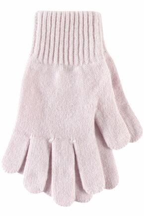 Ladies 1 Pair Great & British Knitwear Made In Scotland 100% Cashmere Plain Gloves In Pink Icing One Size