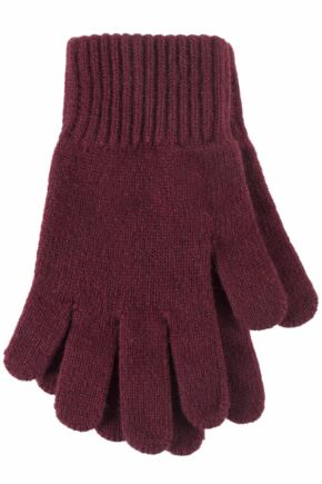 Ladies 1 Pair Great & British Knitwear Made In Scotland 100% Cashmere Plain Gloves In Red Damson One Size
