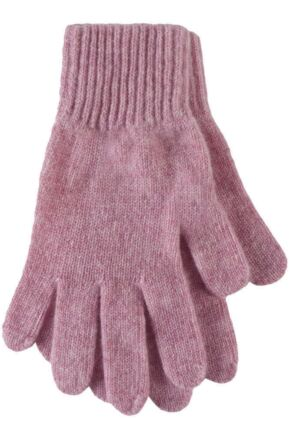 Ladies 1 Pair Great & British Knitwear Made In Scotland 100% Cashmere Plain Gloves In Pink Marshmallow One Size