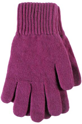 Ladies 1 Pair Great & British Knitwear Made In Scotland 100% Cashmere Plain Gloves In Pink