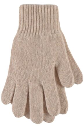 Ladies 1 Pair SockShop of London Made In Scotland 100% Cashmere Plain Gloves In Natural Shades