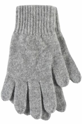 Ladies 1 Pair Great & British Knitwear Made In Scotland 100% Cashmere Plain Gloves In Grey Heron One Size