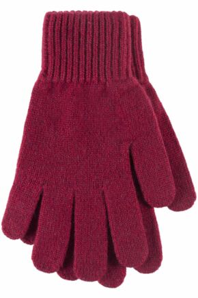 Ladies 1 Pair Great & British Knitwear Made In Scotland 100% Cashmere Plain Gloves In Red Rum One Size