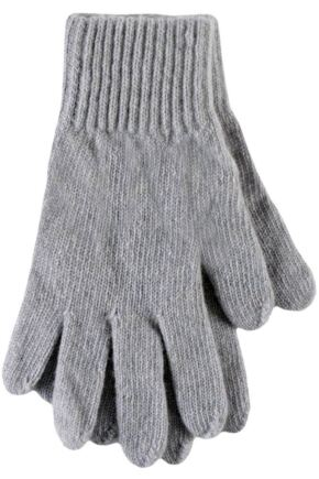 Ladies 1 Pair SockShop of London Made In Scotland 100% Cashmere Plain Gloves In Grey Cygnet One Size