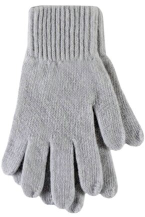 Ladies 1 Pair Great & British Knitwear Made In Scotland 100% Cashmere Plain Gloves In Grey Earl Grey One Size