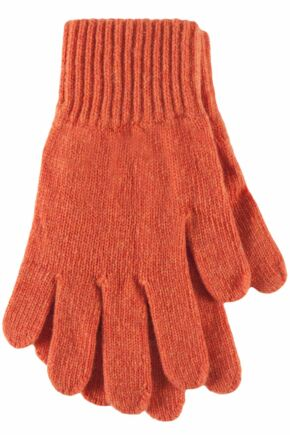 Ladies 1 Pair Great & British Knitwear Made In Scotland 100% Cashmere Plain Gloves In Orange Marmalade One Size