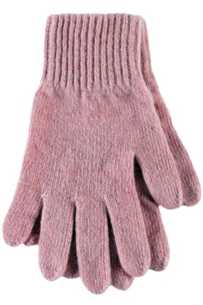Ladies 1 Pair SockShop of London Made In Scotland 100% Cashmere Plain Gloves In Pink Angel One Size