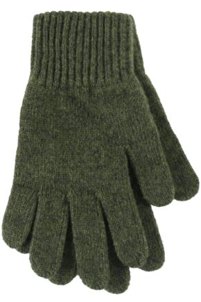Ladies 1 Pair Great & British Knitwear Made In Scotland 100% Cashmere Plain Gloves In Green Olive One Size
