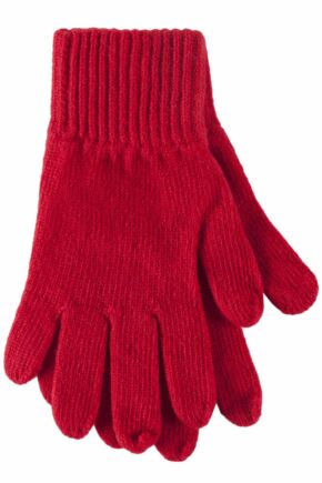 Ladies 1 Pair SockShop of London Made In Scotland 100% Cashmere Plain Gloves In Red Chianti One Size