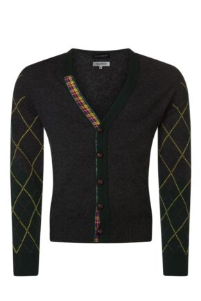 Mens Great & British Knitwear Scotland 100% Lambswool Argyle Arms V Neck Classic Fit Cardigan