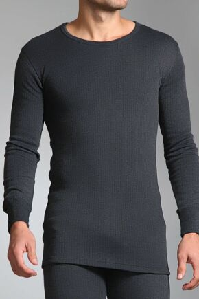 Mens SockShop Heat Holders Long Sleeved Thermal Vest Charcoal L