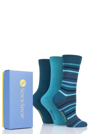 Ladies 3 Pair SockShop Bamboo Bright Gift Boxed Socks