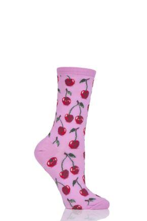 Ladies 1 Pair HotSox Cherries Cotton Socks Pink 4-9