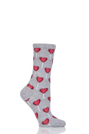 Ladies 1 Pair HotSox Heart Lollipop Cotton Socks Grey 4-9