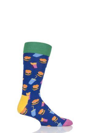 Mens and Ladies 1 Pair Happy Socks Junk Food Burger Combed Cotton Socks