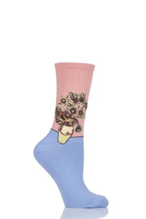 Ladies 1 Pair HotSox Artist Collection Sunflowers Cotton Socks Peach 4-9