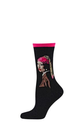Ladies 1 Pair HotSox Artist Collection Girl with the Pearl Earing Cotton Socks