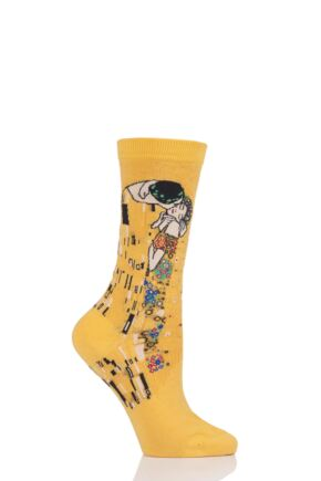 Ladies 1 Pair HotSox Artist Collection The Kiss - Gustav Klimt Cotton Socks Yellow 4-9 Ladies