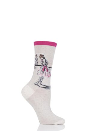 Ladies 1 Pair HotSox Artist Collection Degas Study Dancer Cotton Socks Hot Pink 4-8 Ladies