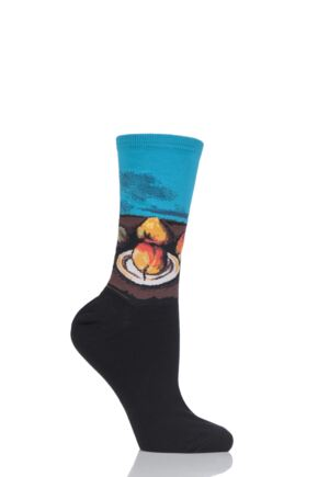 Ladies 1 Pair HotSox Artist Collection Still Life Plate and Fruit Cotton Socks