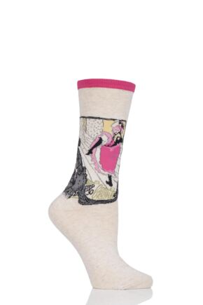 Ladies 1 Pair HotSox Artist Collection Jane Avril Cotton Socks Pink 4-8 Ladies